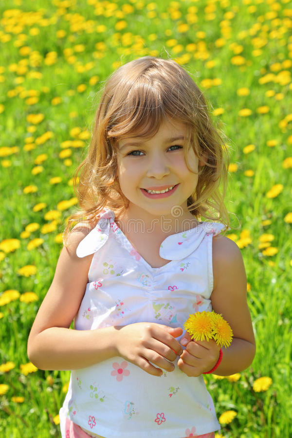Little girl stands on field and holds dandelions royalty free stock images