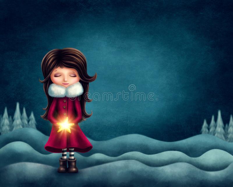 Download Little girl with star stock illustration. Illustration of magic - 106943421