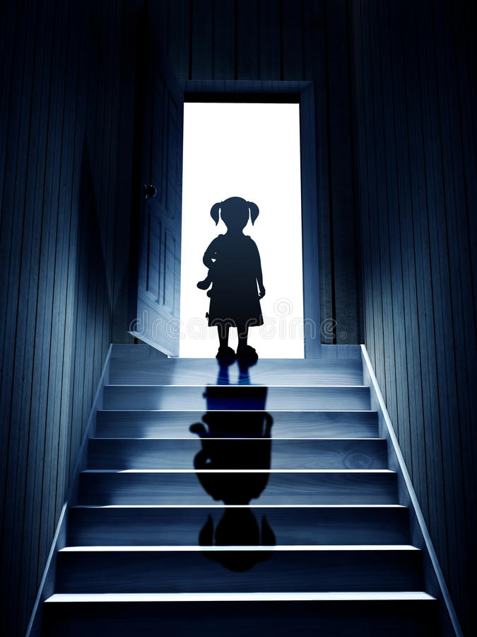 Download Little Girl On Steps Leading From A Dark Basement To Open The Do Stock Illustration - Illustration of bizarre, ominous: 77182577