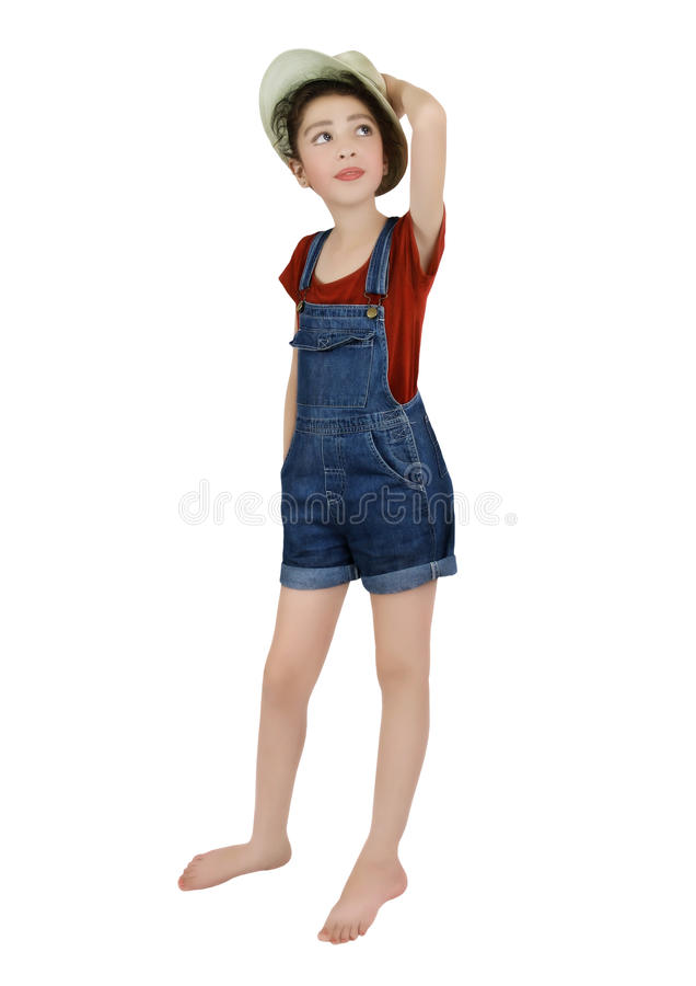 Little girl in straw hat stock photo