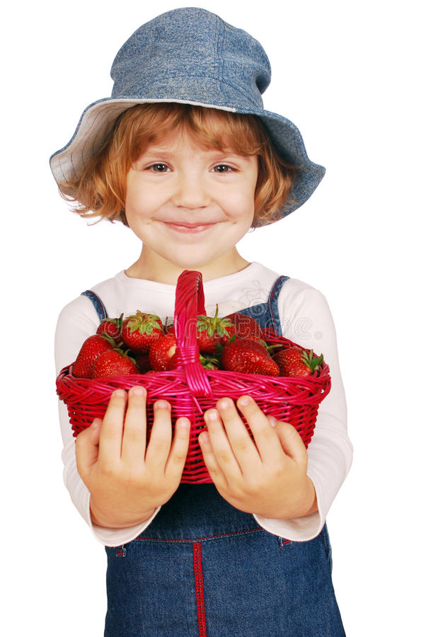 Download Little Girl With Strawberries Stock Photo - Image: 14875316