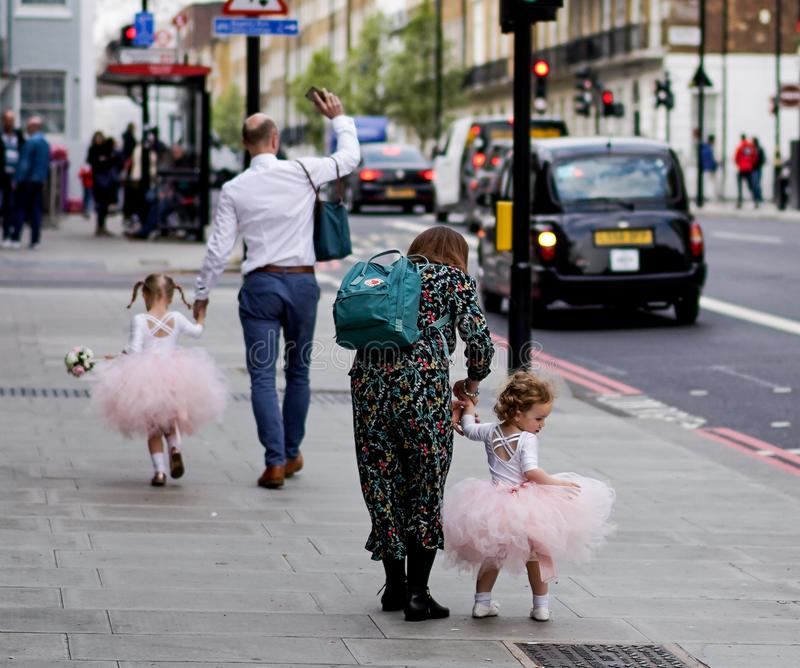 Little girl in the streets of London royalty free stock image