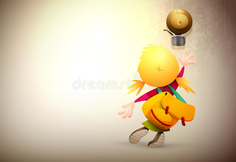 Download Little Girl Stretching To Ring The School Bell Stock Vector - Image: 27009603