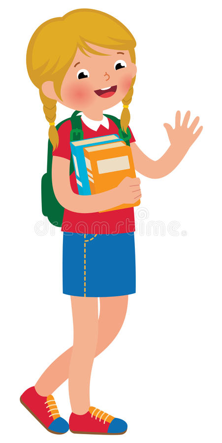 Little girl student of the school with textbooks royalty free illustration