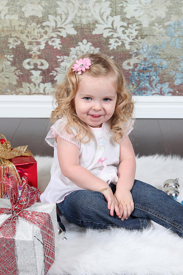 Download Little Girl on Suitcase stock photo. Image of expressions - 28250156