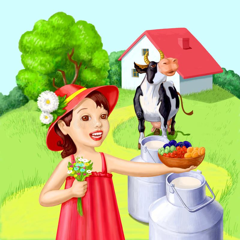 Download Little Girl With Summer Fruits Stock Illustration - Image: 17064774