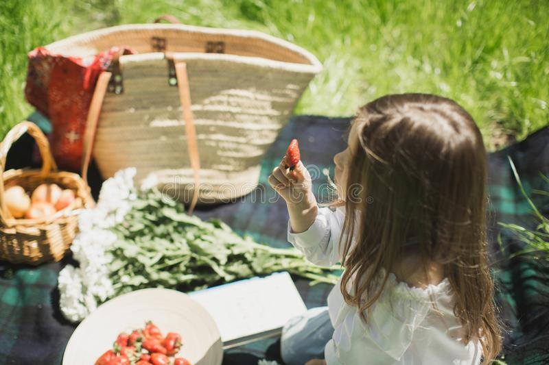 Little girl on a summer picnic in nature with berries stock images