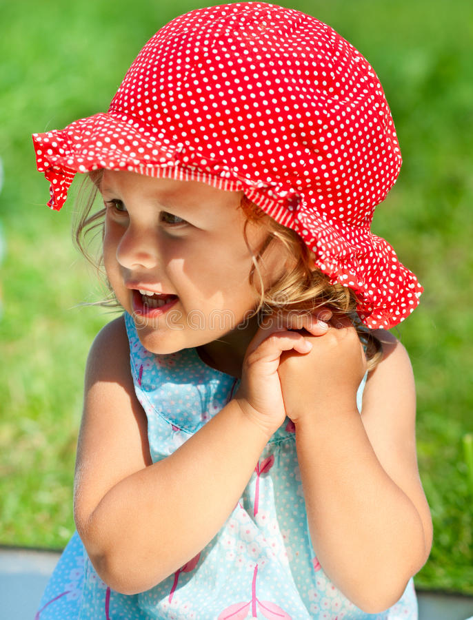 Little girl in sunhat royalty free stock photos