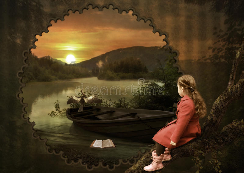 Little girl at sunset. The little girl admiring the bird at sunset in the forest royalty free illustration
