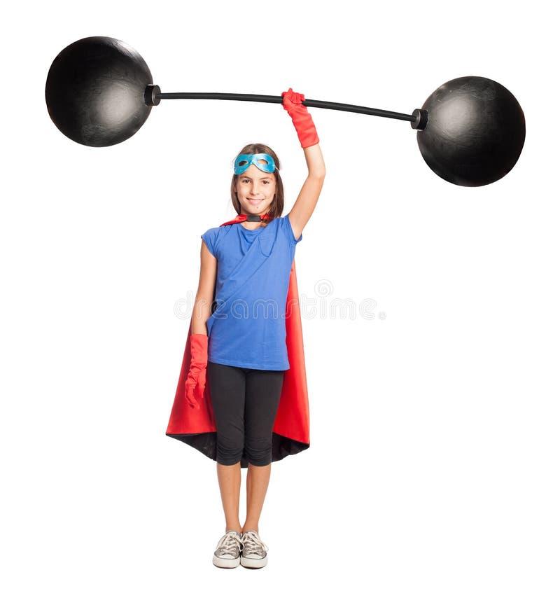 Little girl superhero royalty free stock images