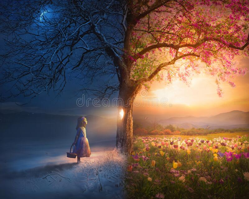 Little Girl and Surreal Scene royalty free stock photo