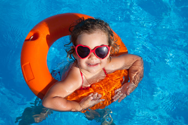 Download Little girl swimming stock image. Image of leisure, childhood - 25132341