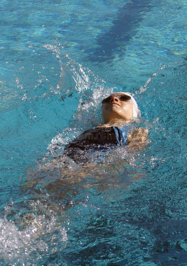 Little Girl Swimming Backstroke. Little girl swimming the backstroke at a swim meet stock image