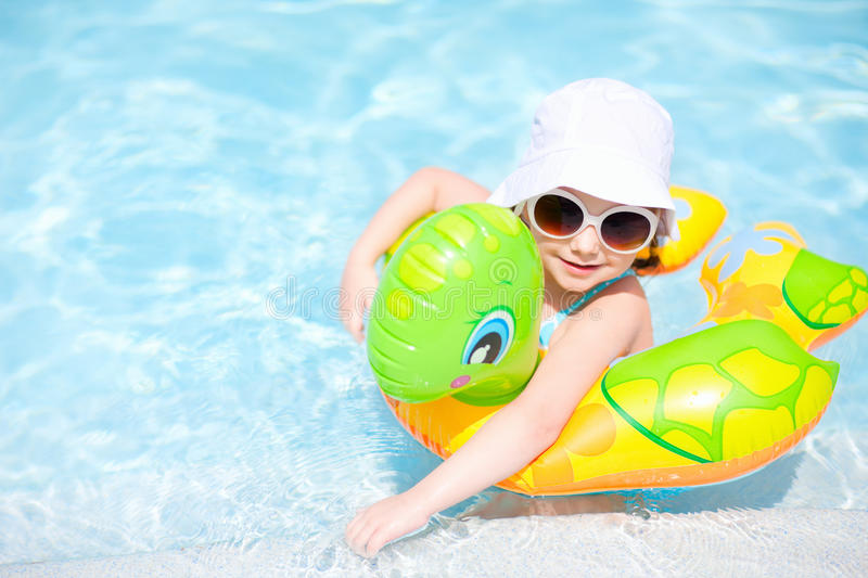 Download Little Girl At Swimming Pool Stock Image - Image of little, playful: 27872193
