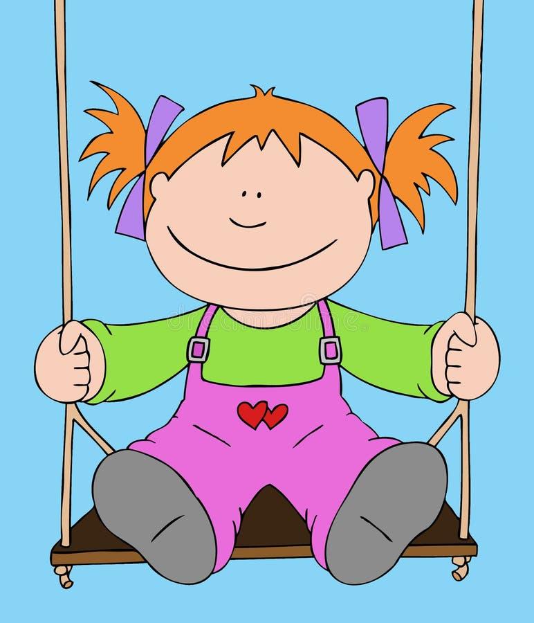 Little girl on a swing vector illustration