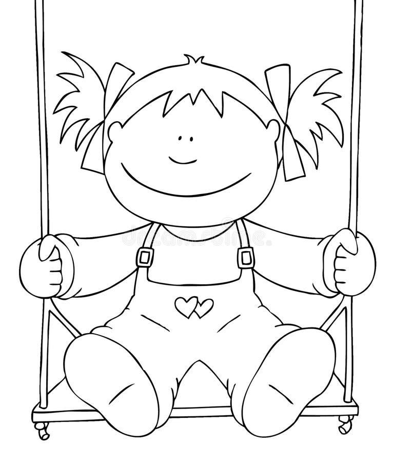 Little girl on a swing stock illustration