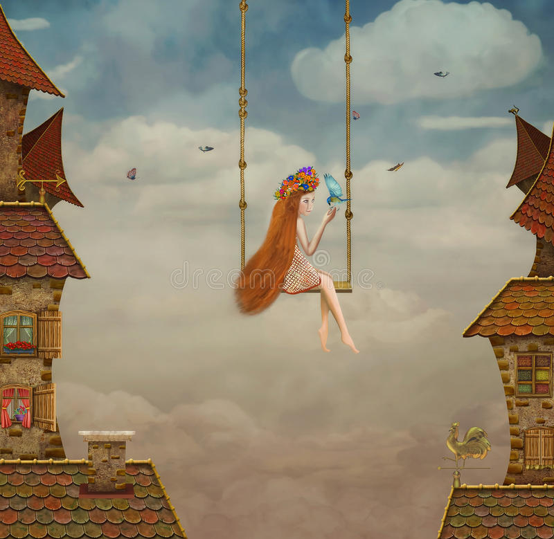 Little girl on a swing,tile Roofs with sky stock illustration