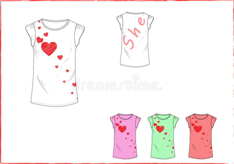 Little girl T Shirt with heart front design royalty free stock photography