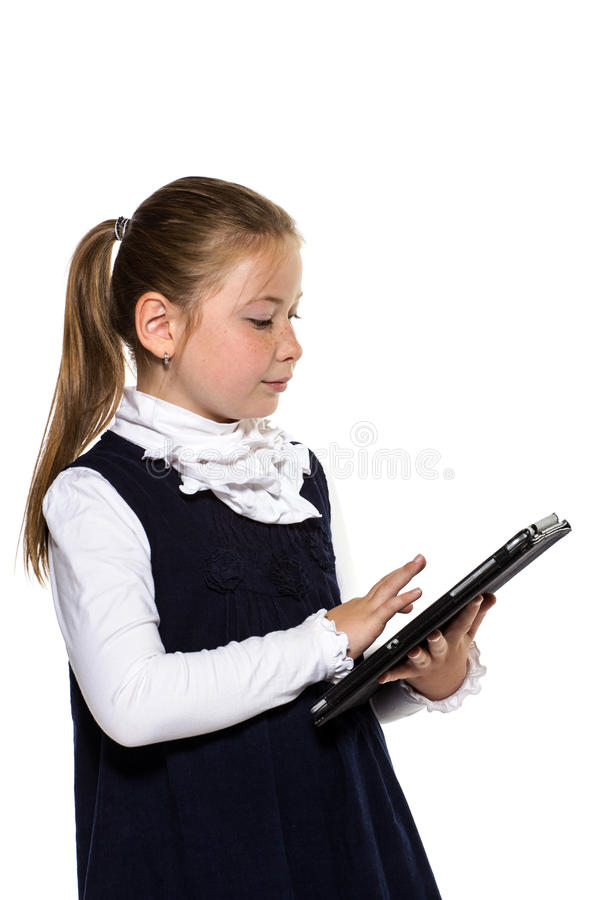 Download The Little Girl With The Tablet Stock Image - Image of looking, baby: 26515495