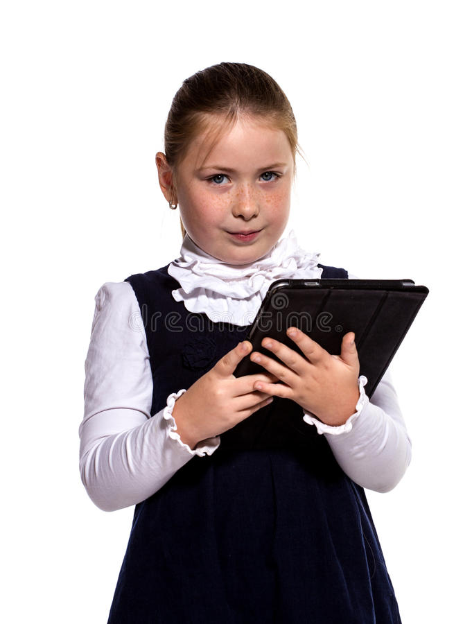 Download The Little Girl With The Tablet Stock Photo - Image: 26515506