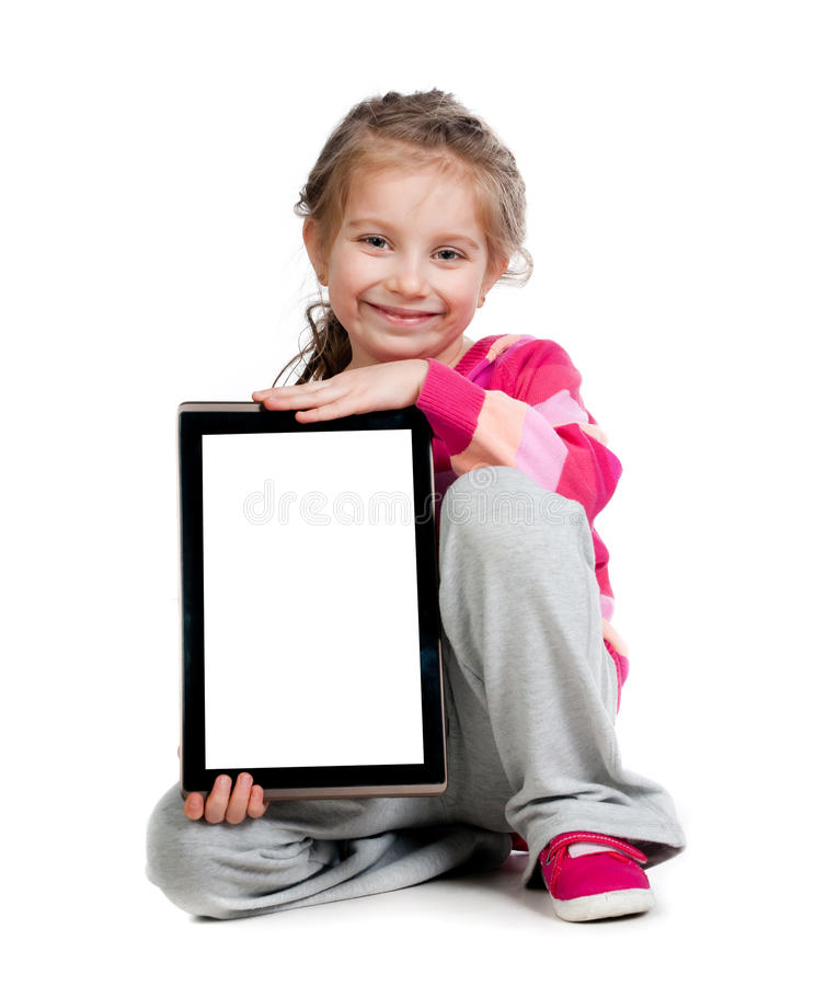 Little girl with a Tablet PC stock photos