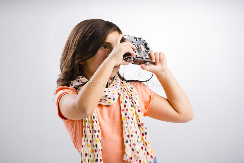 Little girl taking a photo royalty free stock image