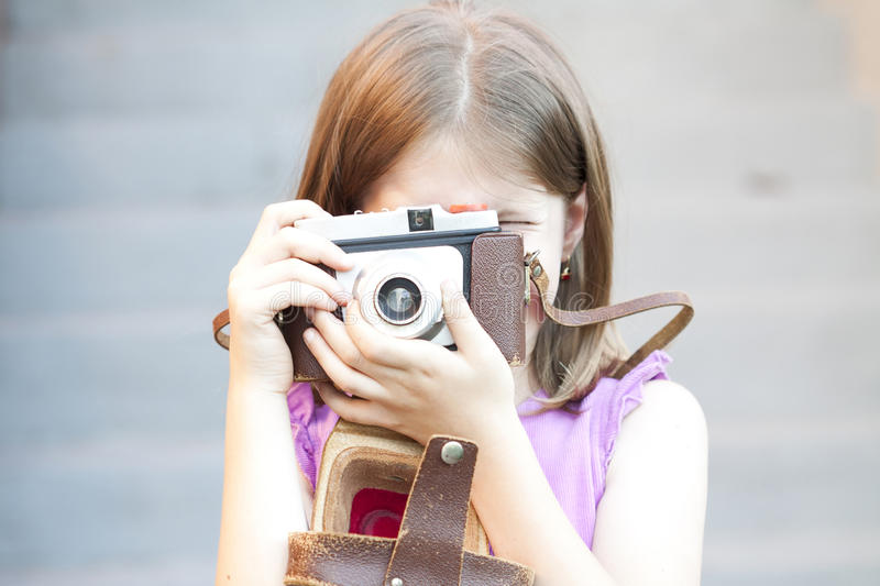 Download Little girl taking picture stock image. Image of human - 41847953