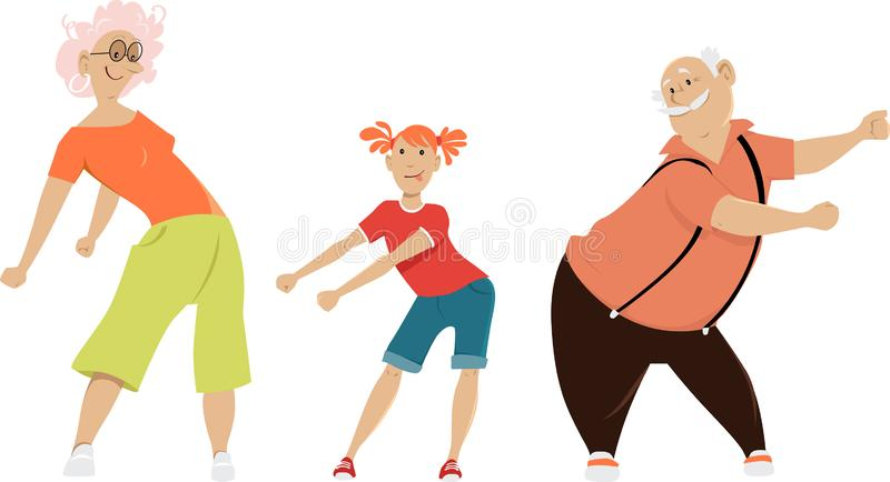 Floss dancing. Little girl teaching her grandparents to floss dance, EPS 8 vector illustration royalty free illustration