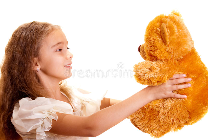 Download Little Girl And Teddy Bear stock image. Image of hair - 11678213