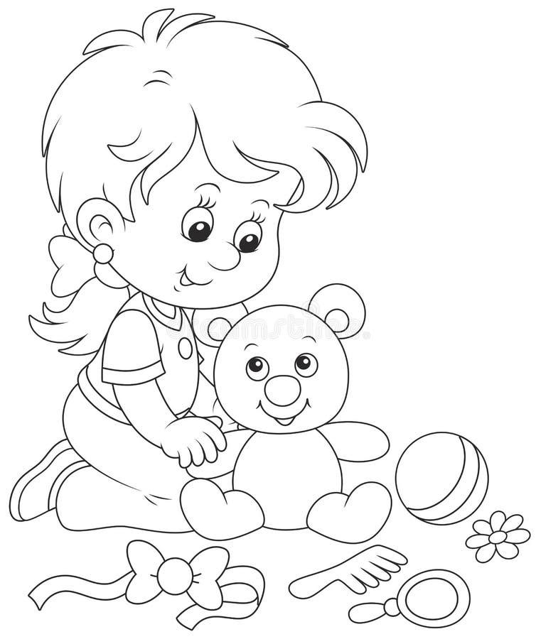 Little girl and Teddy bear vector illustration