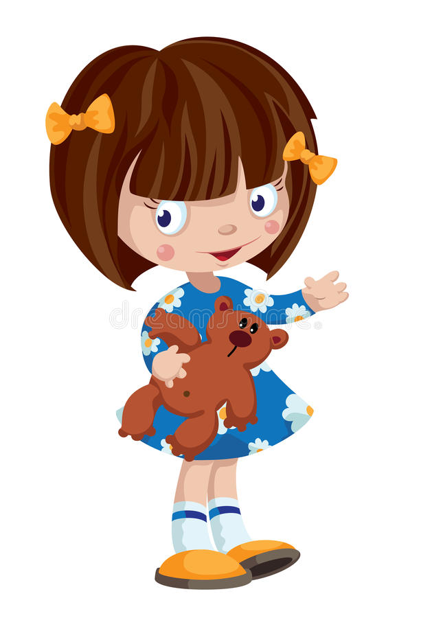 Download Little girl and Teddy stock vector. Image of toys, cartoon - 30686417