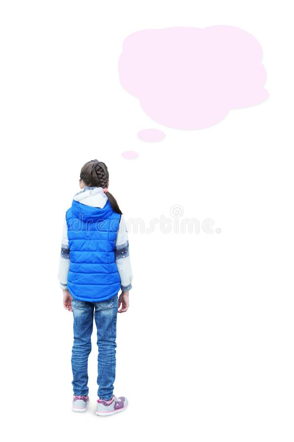 Little girl teenager thinks and dreams. Empty bubbles for thoughts royalty free stock image