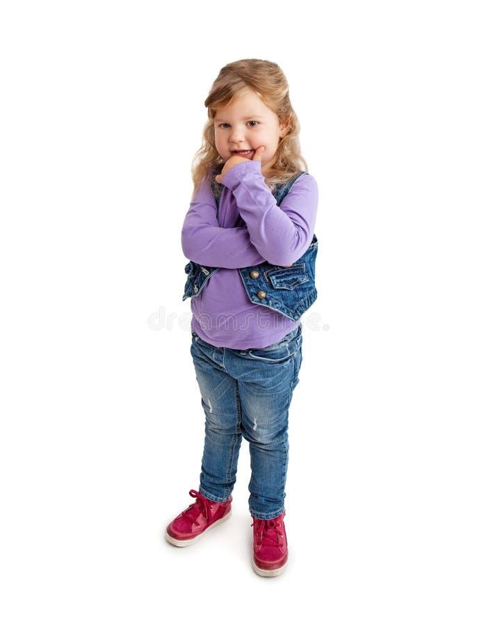 Little girl thinking royalty free stock photos