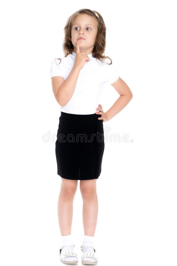 The little girl thinks. stock photography