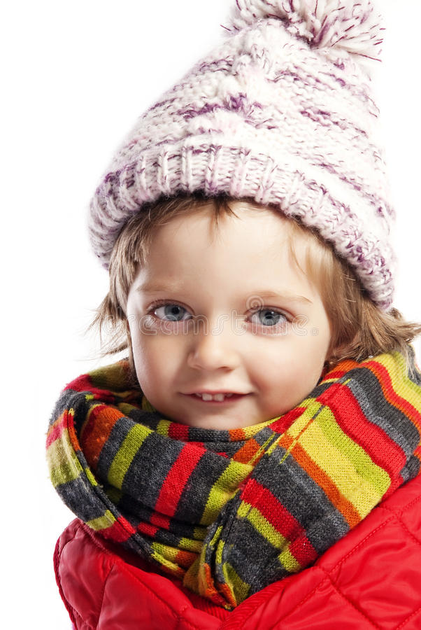 Little Girl Three  With Winter Clothes Stock Image