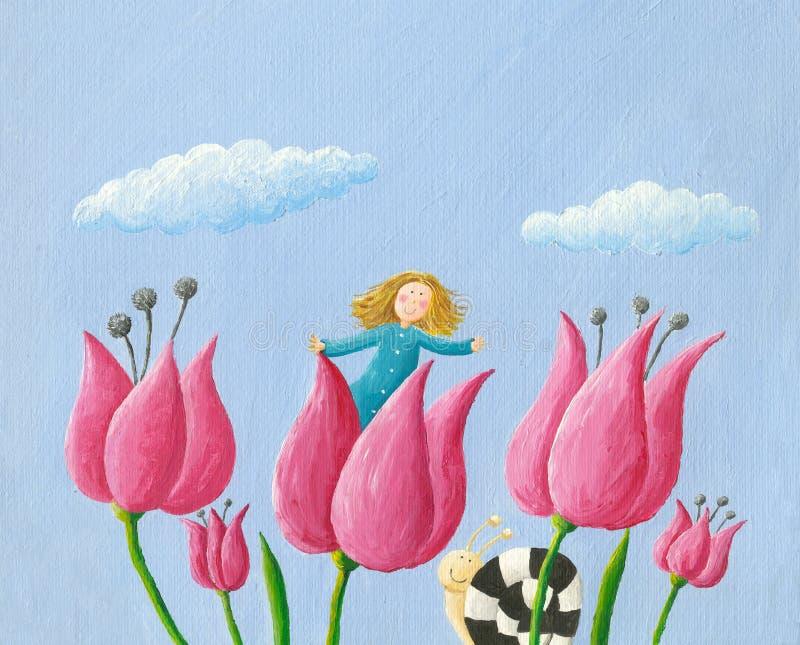 Little girl Thumbelina girl in the tulip stock illustration