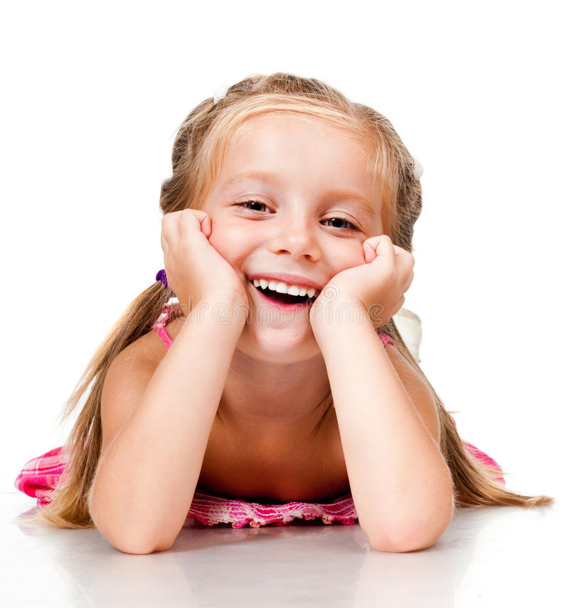Little girl with thumbs stock photography