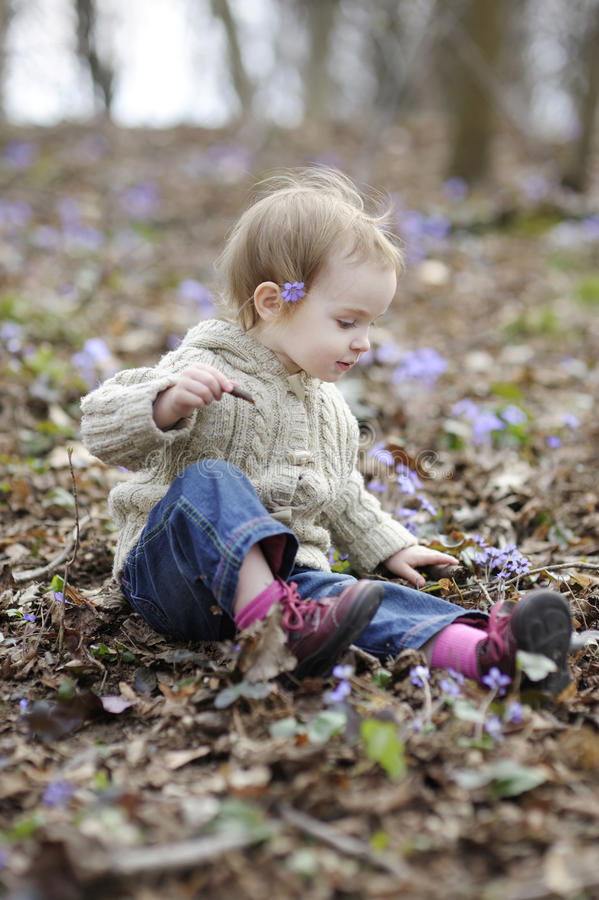 Little girl touching first flowers of spring royalty free stock image