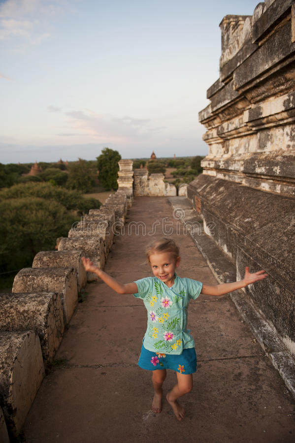 Free Little Girl (tourist) On Bagan Temple, Burma. Royalty Free Stock Images - 25862109