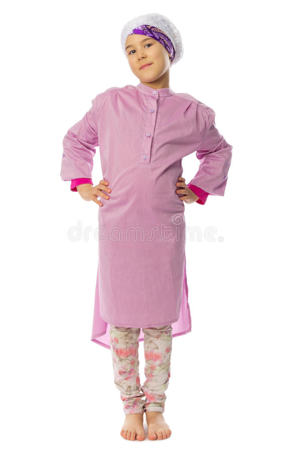 Little girl in traditional muslim clothes royalty free stock images