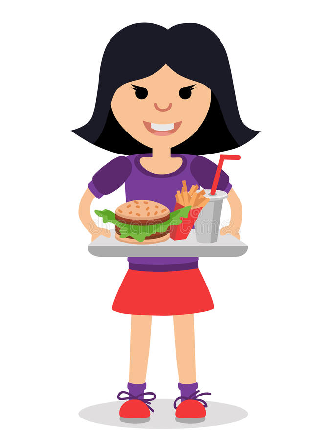 Little girl with a tray of fast food in his hands. vector illustration
