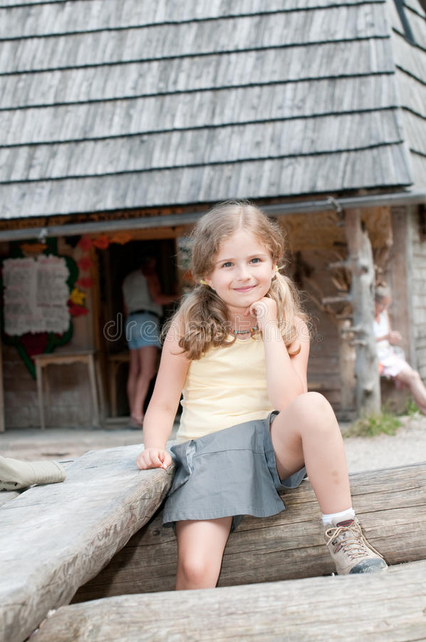 Download Little girl on trek stock photo. Image of hiking, house - 15273476