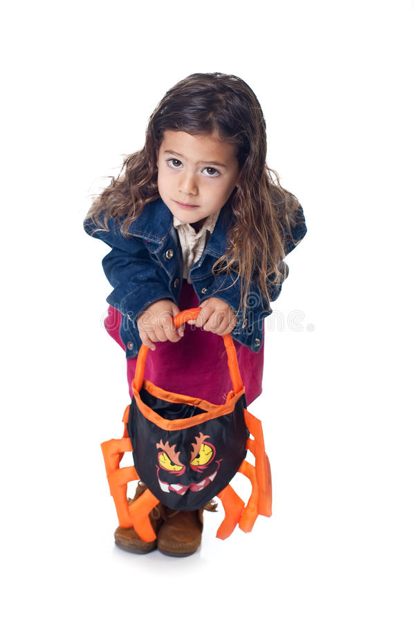 Download Little Girl With Trick-or-treat Bag Stock Photo - Image of fall, isolated: 11515036