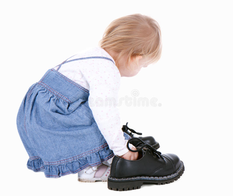 Download Little Girl Trying Her Mother's Shoes Stock Image - Image of toddler, play: 14379941
