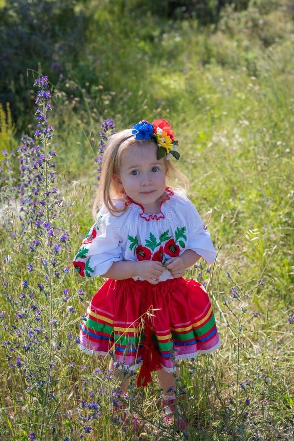 Little girl in Ukrainian national dress stock photos