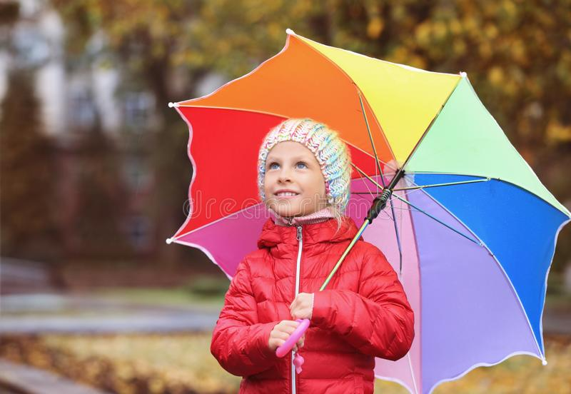Little girl with umbrella in autumn park stock photo
