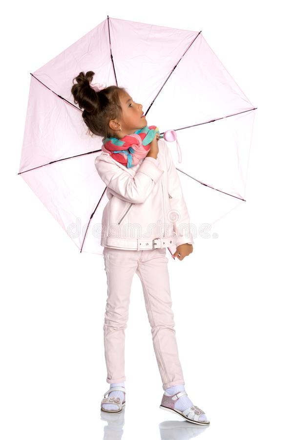 Little girl under an umbrella. royalty free stock image