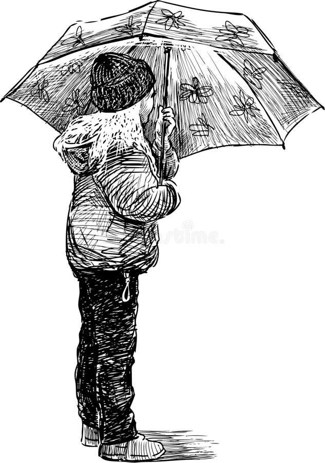 Little girl under umbrella. Vector image of a walking little girl vector illustration