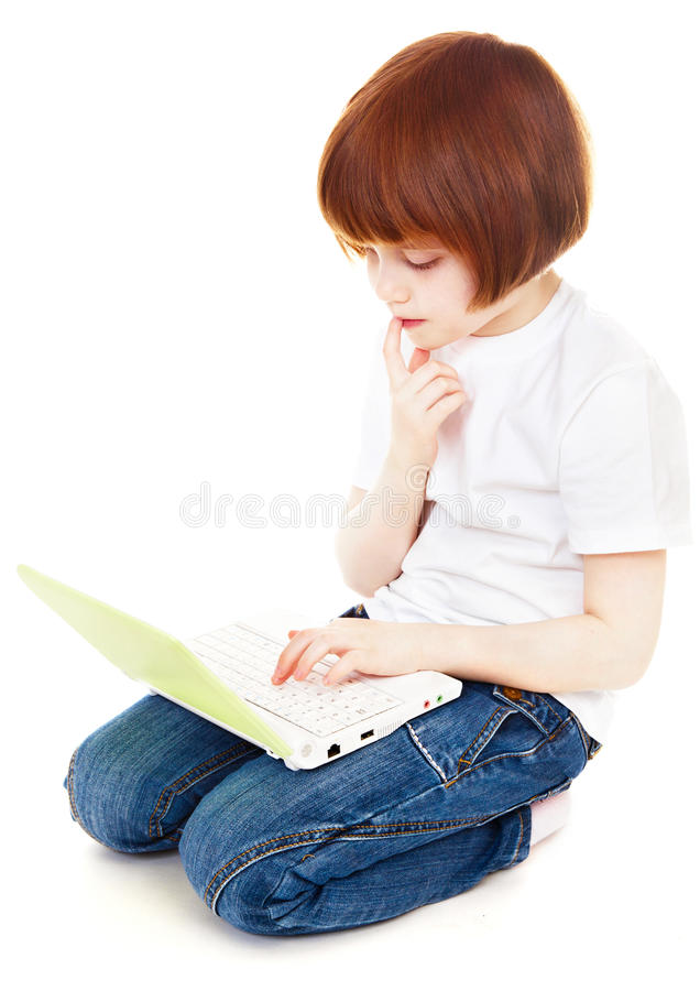 Download Little girl using laptop stock photo. Image of childhood - 13948006