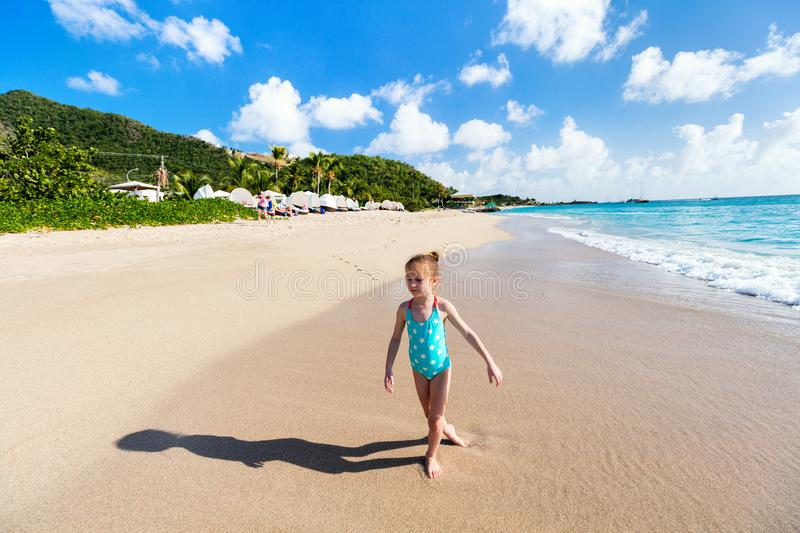 Little girl on vacation. Adorable little girl at beach during summer vacation stock photography